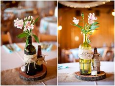 rustic centerpieces - upcycled wedding decor! Simple crafts and flowers create lovely centerpieces! // photo by Addison Studios