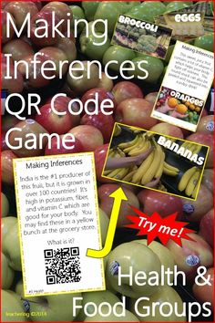 "QR code ""What is it?"" game to practice making inferences, while integrating Health and food group concepts! Students infer based on card clues and check their inference using the QR code.  QR codes link to labeled photographs of the correct answer. Self checking."