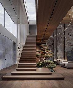 Modern Interior Design, Luxury Interior, Japanese Modern Interior, Staircase Design Modern, Luxury Staircase, Modern Japanese Architecture, House Staircase, Interior Staircase, Staircases