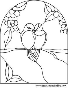 stained glass love birds