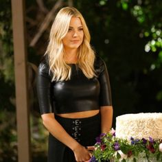 Faux leather crop top As seen on Ashley Benson on Pretty Little Liars  . Size 6 would fir a small or medium. This top is a little more loose on midriff area than the one on first picture *Not From nasty Gal Nasty Gal Tops Crop Tops