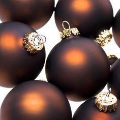 Krebs Chocolate Velvet Glass Baubles - 8 x 67mm