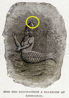 DECODING THE FLEUR DE LIS .....the Fish God Dagon, of Assyro-Babylonian mythology wearing a helmet crowned with the Fleur de lis emblem symbolizing divinity and Lordship