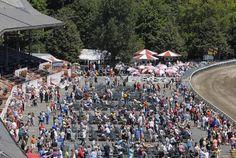 Monday's grandstand apron crowd at the Saratoga Race Course. (Erica Miller / The Saratogian) Crowd, Apron, Dolores Park, Racing, Travel, Running, Viajes, Auto Racing, Destinations