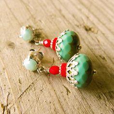 Dangle earrings turquoise red summer hippie by LesJardinsdeKahlan