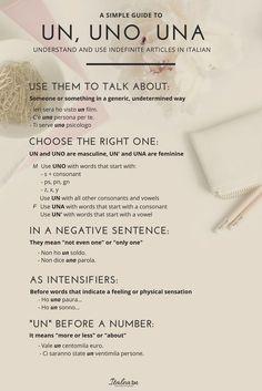 Learn how to use Italian indefinite articles. Italian Grammar, Italian Vocabulary, Italian Phrases, Italian Words, Italian Quotes, Italian Language, Language Study, Language Lessons, Learn A New Language