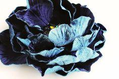 Atlantic blue silk velvet flower from Emici Livet.