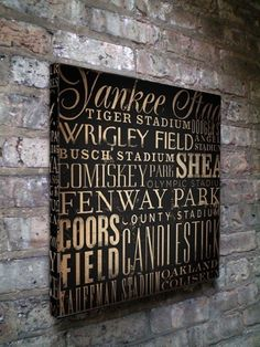 This is gorgeous. For the glamorous baseball fan. I'd want Wrigley Field and Yankee Stadium to switch places on the board.
