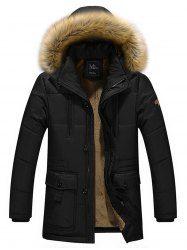 Artificial Fur Hooded Parka Jacket - BLACK 2XL Mobile