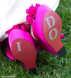 Say 'I Do' with crystals on bright pink wedges