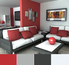 Red painted walls in living room red walls in living room decor Living Room Red, Elegant Living Room, Living Room Paint, Living Room Decor, Black And Red Living Room, Room Color Schemes, Room Colors, Bedroom Paint Design, Bedroom Red