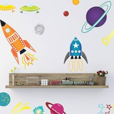 coloured spaceships wall sticker set by spin collective | notonthehighstreet.com