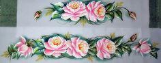 Pintura em Tecido Rosas   Branca Flor Pintura em Tecido/Fabric ...
