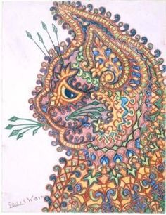 louis wain.  This reminds me of a cloisonné cat that I drew in college....