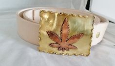 Hand Made Brass and Copper Cannabis Leaf Belt Buckle with Natural Bridle Leather Belt by DKHandcraftedJewelry on Etsy
