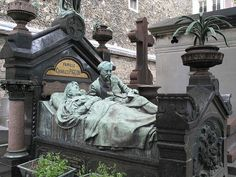 From a graveyard in Paris, France. It's a hauntingly beautiful gravestone. Graveyards can be so interesting. Cemetery Angels, Cemetery Statues, Cemetery Headstones, Old Cemeteries, Cemetery Art, Graveyards, Cemetery Monuments, Angel Statues, Père Lachaise Cemetery