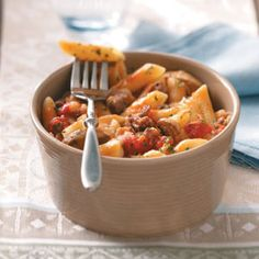 This sausage and penne casserole is AMAZING!  Steven pureed the tomatoes for me since I'm not a fan of the chunks of tomato.