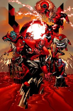 The Red Lantern Corps. Art by Ivan Reis.