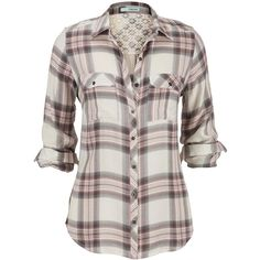 pristine relaxed plaid button down shirt ($29) ❤ liked on Polyvore featuring tops, shirts, lullabies, relaxed fit shirt, plaid button down shirt, tartan shirt, button up tops and shirts & tops