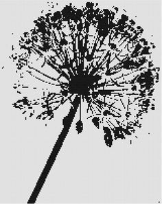 This is a cross stitch pattern of a black and white dandelion.  Another one of my stencils that seem to be an obsession right now!!    This