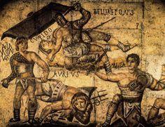 ** MOSAICOS ::: 2o TIPO COSTUMBRISTA - Mosaico con lucha de gladiadores, Roma, conservado en la Galeria Borghese -