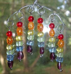 AphroditesAttique - Craft Cafe....Small Rainbow Suncatcher, Glass Beads on Silver-tone Twisted Wire