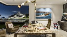 The main office with views of Los Angeles and the helicopter from the 1980s television show <em>Airwolf</em>.