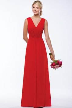 Pretty long red chiffon bridesmaid dress. V-front and back neckline on pleated bodice designed in A line chiffon skirt.