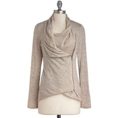 Airport Greeting Cardigan in Oatmeal ($55) ❤ liked on Polyvore featuring tops, cardigans, sweaters, jackets, shirts, brown tops, zip front top, brown shirts, relaxed fit shirt and shirt tops