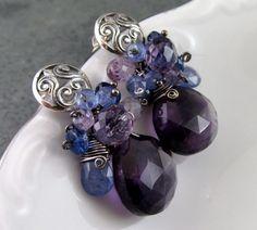Amethyst earrings handmade sterling silver by envydesignsjewelry