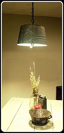 Galvanized Bucket Pendnt Light _ Harvest Moon - awesome upcycled lighting ideas