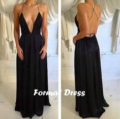 simple prom dresses, black backless long prom dress,sexy V-neck evening dress #prom #promdress #formaldress
