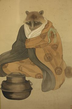 "JAPANESE HANGING SCROLL ""Bunbuku-chagama""  @b515  Type: Paintings, Scrolls & Prints  Region of Origin: Japan Primary Material: Silk & Fabric  Technique: Handpainted Age: 1900-1940  http://www.ebay.com/itm/JAPANESE-HANGING-SCROLL-Bunbuku-chagama-b515-/361635597968?roken=cUgayN"