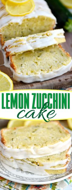 This Lemon Zucchini Cake is definitive proof that lemon and zucchini belong together! Beautifully moist and undeniably delicious, this easy cake is topped with a lemon glaze that will keep you coming back for one more slice. An excellent way to use up that zucchini from your garden! // Mom On Timeout #ad