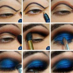 Blue smokey eye make up Eye Makeup Steps, Makeup Tips, Beauty Makeup, Hair Makeup, Makeup Tutorials, Makeup Ideas, Eyeshadow Tutorials, Makeup Primer, Makeup Designs