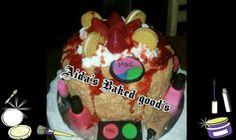 Strawberry shortcake crumble cake with edible makeup.