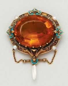 Antique Citrine, Pearl, Enamel and 18K Gold Brooch, circa 1885 #DressesBrooches