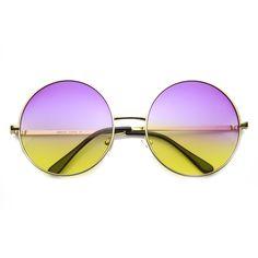 Women's Retro Hippie Oversize Round Sunglasses With Colorized Gradient lenses 9578