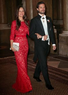 Gala dinner at the Royal Palace, Stockholm. Prince Carl Philip with his fiancé Sofia Hellqvist.