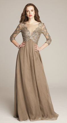 Gorgeous taupe mother of the bride dress with sleeves. Great for fall weddings! Dress by Teri Jon