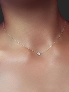 Delicate Solitaire .20 ct Crystal Necklace - Gold #beautifuljewelrynecklaces #GoldJewelleryFashion