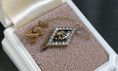 Vintage 10K Gold Alpha Delta Pi Pin Opals Enamel 1973 Sorority NPC | eBay