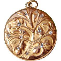 Wonderful Art Nouveau Gold Filled Paste Double Photo Locket  $250