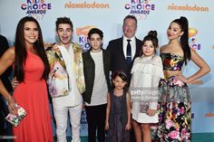 Cast of TV Show The Thundermans, Actors (L-R) Rosa Blasi, Jack Griffo, Diego Velazquez, Maya Le Clark, Chris Tallman, Addison Riecke, and Kira Kosarin at Nickelodeon's 2017 Kids' Choice Awards at USC Galen Center on March 11, 2017 in Los Angeles, California.