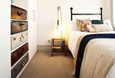 Dale and Sophie the block | Suitcase bedroom draws | Quirky modern yet rustic style