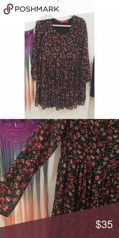 Long sleeve floral smock dress Sheer overlay with ruffle detail at the skirt. Gorgeous floral pattern. Super feminine and cite with booties or sandals. Can be versatile in any season. From Boohoo ASOS Dresses Long Sleeve