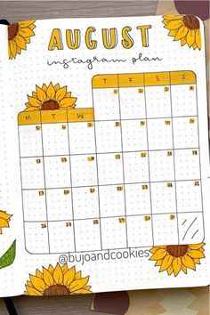 Best Sunflower Bullet Journal Spreads For 2020 - Crazy Laura I. - Best Sunflower Bullet Journal Spreads For 2020 – Crazy Laura If you want to cha - Bullet Journal Lettering Ideas, Bullet Journal Banner, Bullet Journal Notebook, Monthly Bullet Journal Layout, Bullet Journal Calendar Ideas, Bullet Journal Numbers, Bullet Journal Netflix, Bullet Journal School, Bullet Journal September