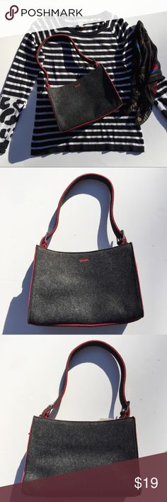 """Charcoal & Red Felt Bag from esprit Like new and just right sized. This nice little bag is lightweight and stylish. Magnetic snap fastener. Interior zippered pocket. Bottom is 10.5"""" x 4.5"""". 7.25"""" deep. 11"""" strap drop. Esprit Bags Shoulder Bags"""
