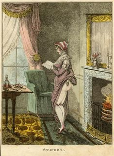 "beatonna: ""via NYPL Readers and reading were sources of constant interest to artists in the Romantic period. The young woman shown here holds Matthew Gregory Lewis's ""terror-gothic"" The Monk A. Jane Austen, Pin Up, Romantic Period, Gothic, Regency Era, Woman Reading, New York Public Library, Illustrations, Female Images"