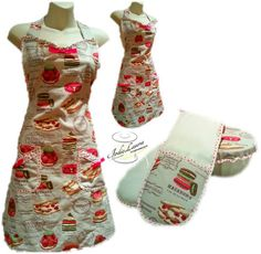 Jodie Laura Designs: Hand made apron, oven gloves & a bowl cover.